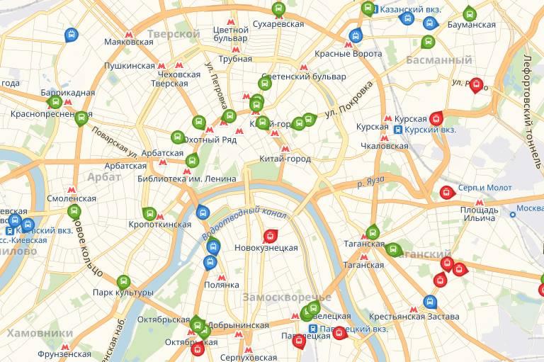 Общественный транспорт на карте Москвы