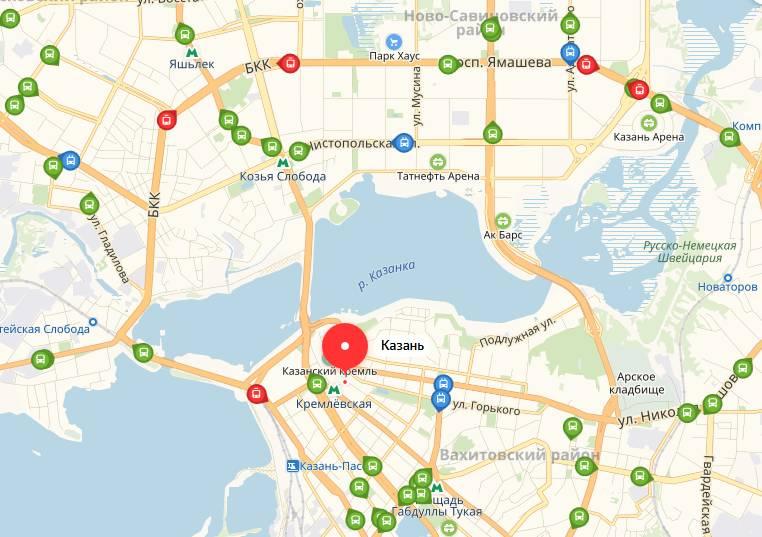 Посмотреть онлайн Яндекс транспорт Казани